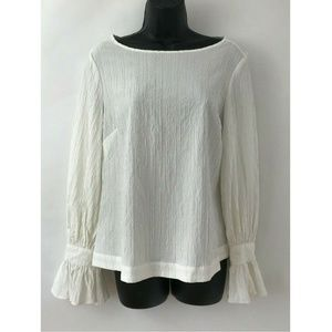 Marled Reunited White Crinkle Bell Sleeve Blouse S